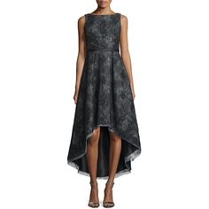 ML Monique Lhuillier Sleeveless Jacquard High-Low Cocktail Dress ($790) ❤ liked on Polyvore featuring dresses, black, short in front long in back dress, sleeveless cocktail dress, bateau neckline dress, jacquard dress and hi low dress