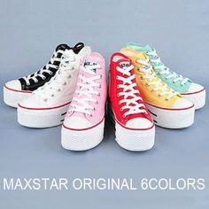 ca1cc4edcddf MAXSTAR Platform Canvas High Top Zip Sneakers US 6~8 Womens Wedge Shoes # MAXSTAR