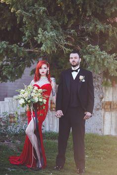 Jessica Rabbit styled bridal shoot