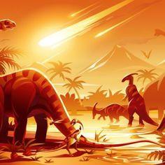 Detailed illustration of a prehistoric scene showing a meteor impact. Reptiles, Mammals, Dinosaurs Extinction, Meteor Impact, Los Primates, Extinct Animals, Prehistoric Creatures, Tyrannosaurus Rex, Dark Matter