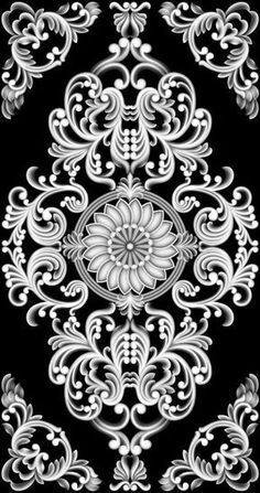 Pin image Wall Stencil Patterns, Wood Carving Patterns, Carving Designs, Stencil Designs, Islamic Art Pattern, Pattern Art, Pattern Design, Zbrush, Motif Baroque