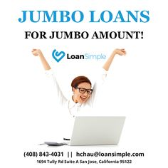 Jumbo Loans For Jumbo Amount!  For more info click here:.......................................  #FHALoan #LoanSimple #MortgageRates #Mortgage #FHAloansoffer #mortgagediscussion #homeloan #VAloan #realestate #creditscore #lowratemortgagecompany#jumboLoan#ExcellentCredit #QualifyMortgage #savemoney #HomeBuye