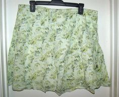 Abercrombie & Fitch Green Floral Lined A-Line Cotton Skirt Size M #AbercrombieFitch #ALine