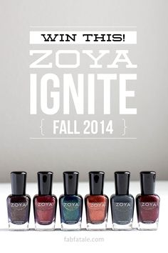 i'm giving away the newly released Zoya Ignite Fall 2014 collection at http://www.fabfatale.com/2014/09/zoya-ignite-collection-swatches/ #zoya #nailpolish #zoyaignite #giveaway