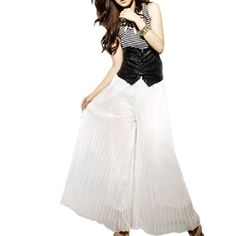 Allegra K Chiffon Pleated Lining Loose Leg Pants White S for Lady Allegra K. $14.40