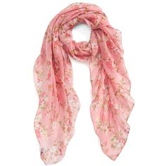 Women's Accessory Collective Floral Cluster Oblong Scarf (252.890 IDR) ❤ liked on Polyvore featuring accessories, scarves, pink multi, lightweight scarves, floral shawl, pink shawl, long shawl and pink scarves