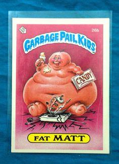 Vintage 80s Garbage Pail Kids Series 1 Fat Matt 26b Sticker Trading Card EX on Etsy, $10.00