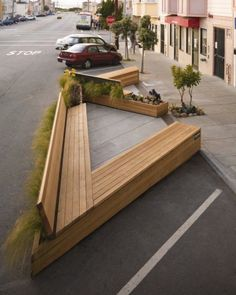 Turning two parking spaces into a park-let