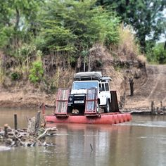 Pontoon crossing into North Luangwa National Park, Zambia. #africa #Landrover #Defender 110