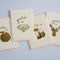 Beautiful gold foil letterpress cards from http://20thandives.com