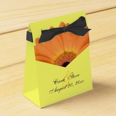 Orange and Yellow Gerber Daisy Wedding Favors Favor Boxes