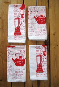 For My Black White Red Kitchen Hand Printed Organic Cotton Napkins With