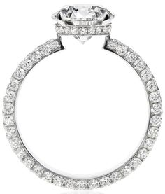 Attraction by Harry Winston, Diamond Ring. Round brilliant diamond, featured here in 2.01 carats; 124 round brilliant diamonds totaling 1.30 total carats; platinum setting.