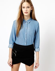 $33, Lightweight Denim Shirt by Jdy. Sold by Asos. Click for more info: http://lookastic.com/women/shop_items/173209/redirect