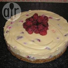White chocolate and raspberry cheesecake-no bake and no gelatine @ allrecipes.co.uk