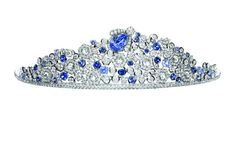 """Bee My Love"" Tiara by Chamuet in diamonds & sapphires. (The crowning glory of the tiara, a blue bee, lifts out and can be worn as a brooch. Contemporary.)"