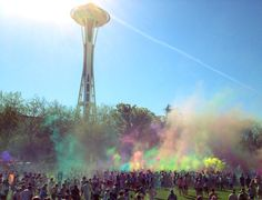 The Space Needle gets some Color Run love!