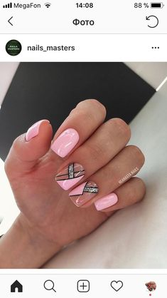 Manicure Nail Designs, Pedicure Nails, Gel Nails, Aztec Nails, Elegant Nail Art, Nail Art Designs Videos, Square Nail Designs, Nails Design With Rhinestones, Lines On Nails