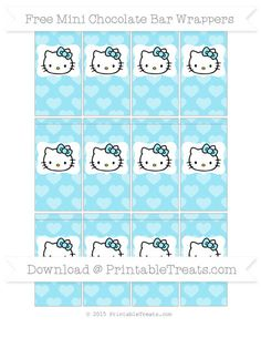 Free Pastel Aqua Blue Heart Pattern Hello Kitty Mini Chocolate Bar Wrappers