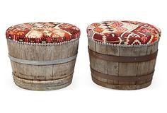 One Kings Lane - Wine Barrel & Kilim Stools, Pair