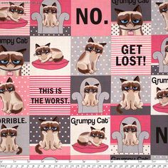"""Grumpy+Cat+Comic+Squares+Pink/Grey+by+Marcus+Fabrics+-+Pricing+is+per+meter  Pink,+grey+and+white+rows+of+squares+containing+the+cartoon+version+of+grumpy+cat.    Main+Colour/s:+Pink  Basecloth:+100%+Cotton  Bolt+Width:+110cm+(43"""")  Weight:+Light+-+Quilting+and+Apparel+Weight  Vertical+Repeat:+31cm+(12-1/4"""")  Repeat+Type:++Basic+Tile…"""