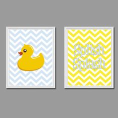 splish splash rubber ducky bathroom nursery wall art 8x10 chevron style