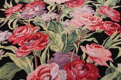 Vintage Unused Rare Black Floral Barkcloth Pink & Purple Flowers