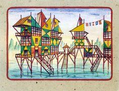 'Proyecto Fachada Delta (#2),' watercolour by Xul Solar, 1954.