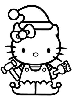 Hello Kitty Christmas Hat Coloring For Kids - Christmas Coloring Pages : KidsDrawing – Free Coloring Pages Online Ballerina Coloring Pages, Coloring Book Pages, Coloring Sheets, Adult Coloring, Hello Kitty Christmas, Christmas Cats, Christmas Colors, Christmas Images, Images Hello Kitty