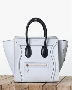 Celine White with Black Handles Mini Luggage bag - Fall 2013
