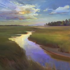 """Summer Marsh"" by Holly Ready. 36"" x 36"" Oil on Canvas.  Available at www.maine-art.com #maineart #summer #HollyReady"