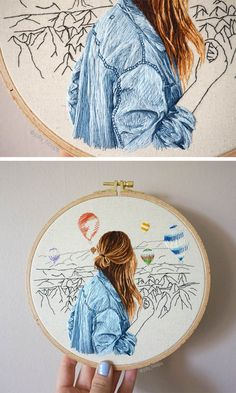 Celebrating the calm moments in life – Jolly Hoops Interview - Amazing fashion embroidery scenes - Jolly Hoops Interview - Pumora - all about hand embroidery Embroidery Materials, Hand Embroidery Stitches, Modern Embroidery, Embroidery Hoop Art, Cross Stitch Embroidery, Embroidery Designs, Machine Embroidery, Geometric Embroidery, Contemporary Embroidery