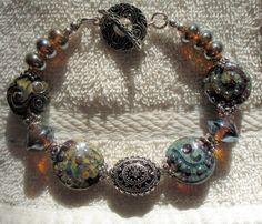 Lampwork Bracelet all Sterling Silver   Starry by therodeorose