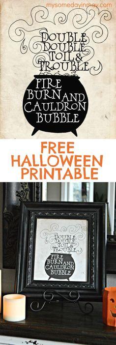 Perfect Free Printable for Halloween decor!