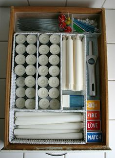 Good idea to store candles if needed for when the power goes out. Everything's together.