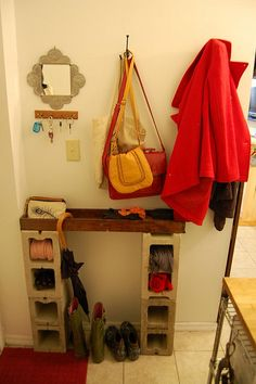 Home-made mail table, entranceway by lucy lou, via Flickr
