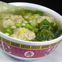 Chinese Lion's Head Soup with pork meatballs, napa cabbage and green onions in Asian-flavored chicken broth. ♥ AllRecipes.com