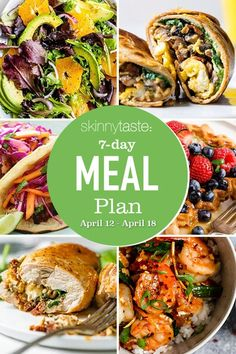 7-Day Healthy Meal Plan April Clean Eating Meal Plan, Clean Eating Recipes, Diet Recipes, Healthy Eating, Healthy Recipes, Healthy Meals, Healthy Weekly Meal Plan, Weekly Menu, Delicious Meals