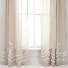 Ruched Linen Platinum/White Window Panel at Pine Cone Hill  #ruched #neutrals #curtains