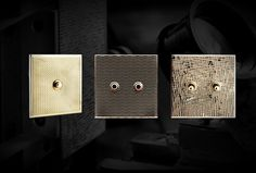 Handmade electrical switches. Choice of materials, pure lines, guilloched metal...