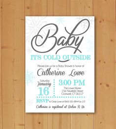 "Hi!  Printable single sided invitation file available for download in two sizes: 4 x 6 and 5 x 7.  MATCHING THANK YOU NOTE: https://www.etsy.com/listing/255609416/baby-its-cold-outside-baby-shower-thank?ref=shop_home_active_2  Placing your order is easy, just follow these steps:  -Add this listing to your cart (click on the green ""Add to Cart"" button and you will be given the option to checkout via Paypal or using your credit card.  -In ""Note to Seller"" box fill in the following…"