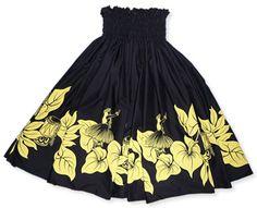 Lavahut  :: Women  :: Hawaiian Skirts  :: hula girl black single pau hula skirt