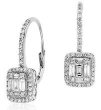 Ve508 Diamond Fashion Earrings  Earring Information  Metal: 18k White Gold  Length: 3/4 inch  Backing: Lever Backs  Width:  1/3 inch  Approximate weight:  2.92 grams  Rhodium Plated: Yes