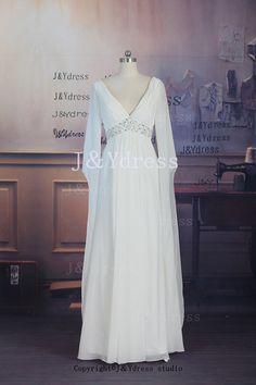 Sleeves Vneck Straps Floor Length Chiffon Evening Dress by JYdress, $119.00
