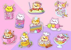 Sticker Set Series 4 Kawaii Yum Yum Cats Vinyl Stickers | Etsy