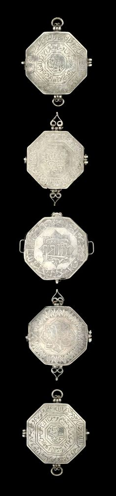 Iran | Five octagonal Qajar arm amulet cases; silver.  Inscribed with verses from the qur'an, each with a silver loop either side for attachment to the arm.  | ca. 19th century or later | 625£ ~ sold (Apr '09)