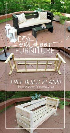 DIY Banc de jardin simple a faire avec des palettes de bois. Banc extérieur avec palette de bois, tuto DIY et plan gratuit pour réaliser facilement le meuble de jardin.