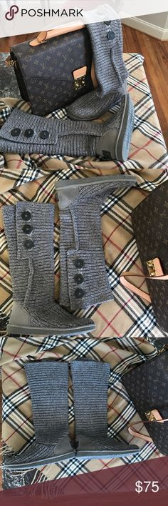 Ugg cardigan boots Grey cardigan boots by Ugg. Super comfy and cute, can wear long or short as shown above in photos.  Gently loved & worn in excellent condition.  ❤️ UGG Shoes Winter & Rain Boots