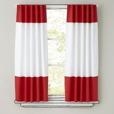 Shop Kids Curtains: Red and White Curtain Panels. The simple design of these curtains allows them to match a variety of décor while simultaneously adding a nice splash of color. Grab a few and live on the edge. Color Block Curtains, Chevron Curtains, Kids Curtains, Colorful Curtains, Panel Curtains, Curtain Panels, Bedroom Curtains, Double Curtains, Kitchen Curtains