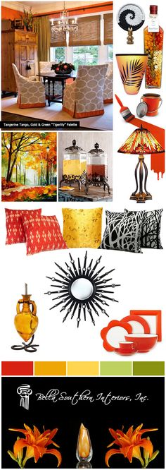 How to use Tangerine Tango for a Fresh New Look in Home Decorating :: designed by Color Of The Year, Pantone Color, Tango, Home Interior Design, Color Combinations, New Look, Pin Boards, Palette, Diy Projects